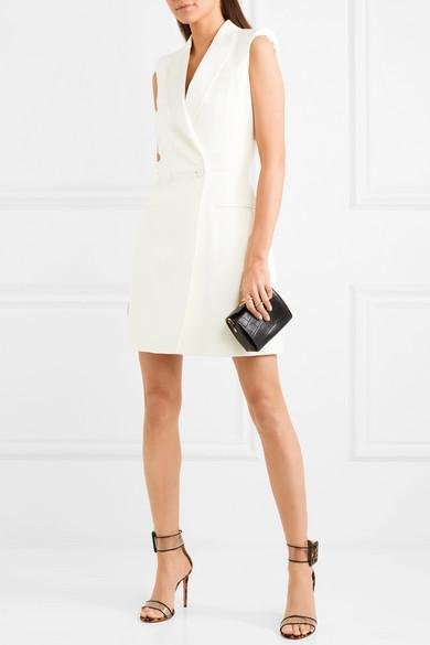 24e6fb03a56ed Alexander Mcqueen Satin-Trimmed Wool-Blend Cady Mini Dress In Ivory ...