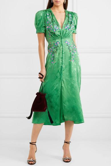 5b7d10753 SALONI Lea Embroidered Silk-Satin Jacquard Midi Dress in Kelly Green  Embroidery
