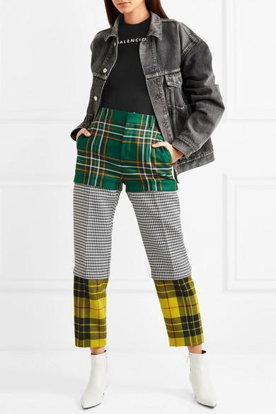 6579006becde BALENCIAGA Convertible Paneled Tartan And Houndstooth Wool Straight-Leg  Pants in Green