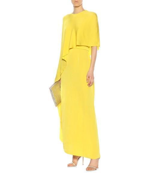 ee77a35090d STELLA MCCARTNEY One Side Long Cape Belted Jersey Evening Gown in Yellow