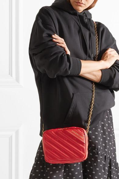 6aec473e8725 BALENCIAGA Blanket Reporter Xs Printed Quilted Leather Shoulder Bag in Red