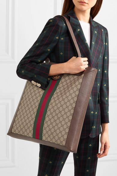232399093d2e Gucci Ophidia Gg Leather-Trimmed Printed Coated-Canvas Tote In Brown ...