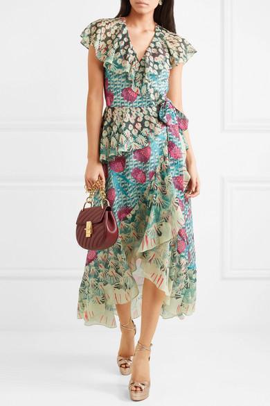 e828ad642501 TEMPERLEY LONDON Garden Cactus-Print Ruffled Wrap Dress in Blue Print
