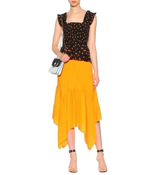 60d82264 Ganni Wilkie Silk And Cotton Midi Skirt In Turmeric Orange | ModeSens