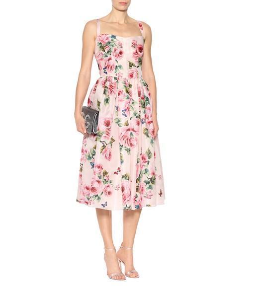 4c287b658d46e DOLCE & GABBANA Pleated Floral-Print Silk-Organza Midi Dress in Pastel Pink