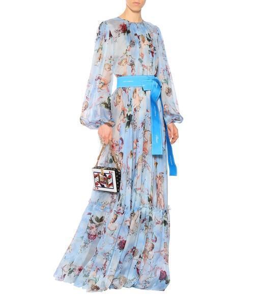 3038419d Dolce & Gabbana Long-Sleeve Cherub-Print Chiffon Jumpsuit In Blue ...