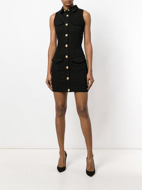 55060dcf32 Balmain Sleeveless Button-Front Fitted Denim Dress In Black