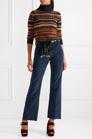 d605fd63ec4e Prada Leather-Trimmed Quilted Velvet Belt Bag In Black