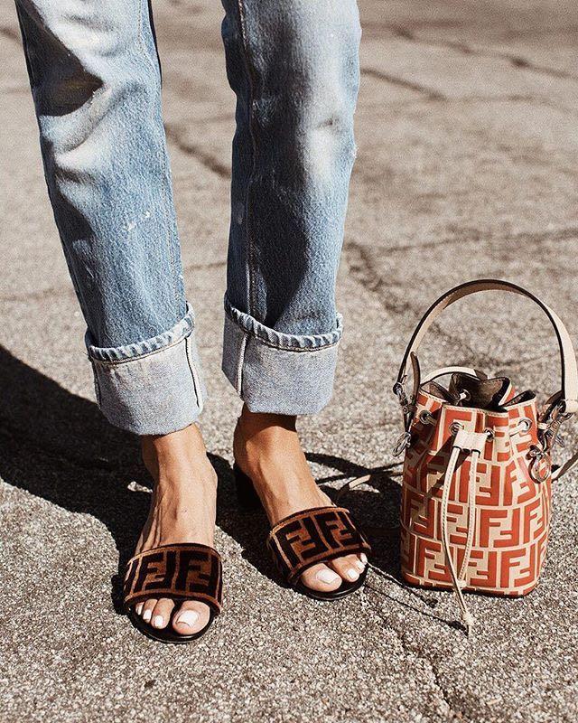 aa73e38c444 Fendi Ff Velvet   Leather Slide Sandal In Tan