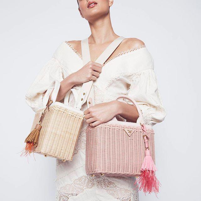 dc00cf37124760 Prada Canvas And Wicker Woven Bag In White Multi | ModeSens