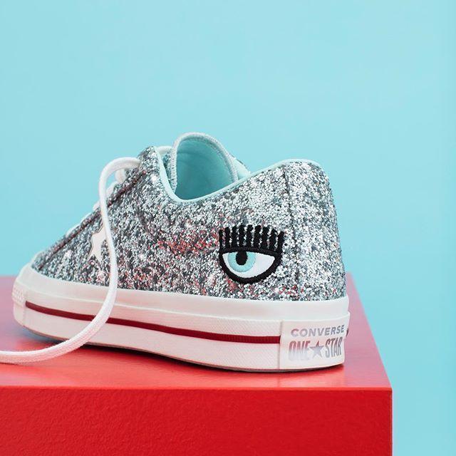 0e82e3334b51a7 CONVERSE Women s One Star Platform X Chiara Ferragni Glitter Sneakers in  Silver