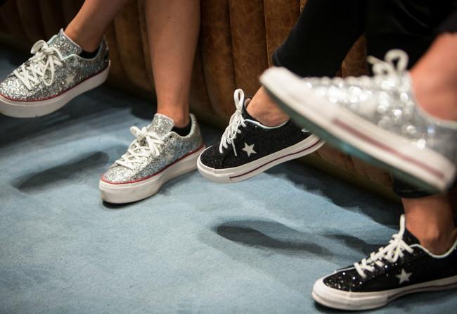 285611124a98 CONVERSE Women S One Star Platform X Chiara Ferragni Glitter Sneakers in  Silver