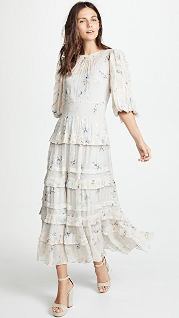 aea7c5e3e Rebecca Taylor Metallic Faded Floral Midi Dress In Stone | ModeSens