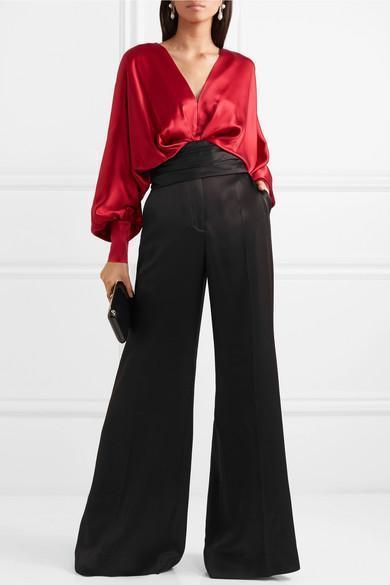 e54c0304f6ffb Johanna Ortiz Senegal Silk-Satin Blouse In Red