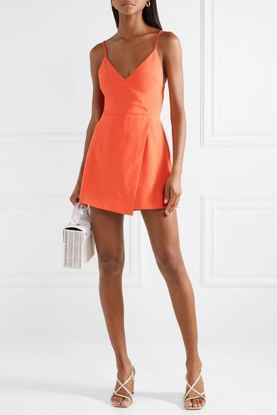 102c1a85ea Alice And Olivia Emery Fitted Cross-Front Romper In Orange