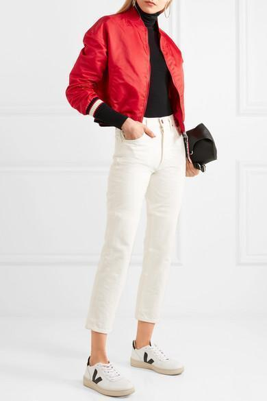 fdd575494 Moncler Actinote Nylon Satin Bomber Jacket In Red