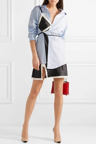 aa89fea9b853 ALEXANDER WANG Layered Lace-Trimmed Satin And Cotton-Poplin Mini Dress in  Sky Blue