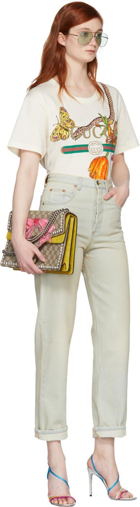 e8089d3d8db9 GUCCI Dionysus Medium Gg Supreme Canvas Shoulder Bag With Crystal Bow in  Yellow