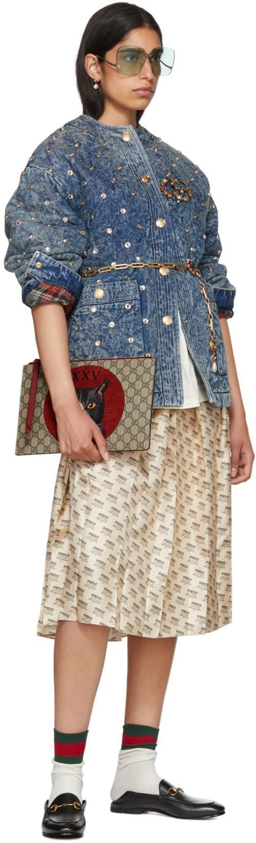 d5367bedc Gucci Quilted Marble Denim Jacket With Crystals In Blue | ModeSens