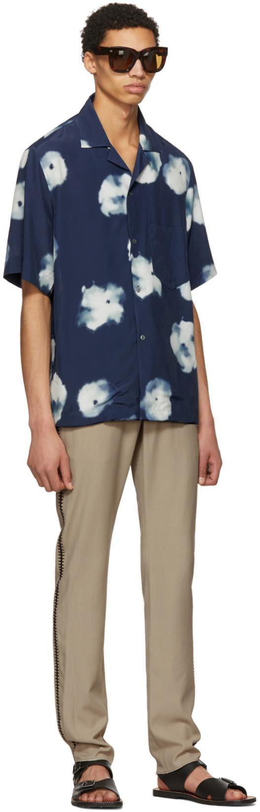 ccc21f42c5 Acne Studios Elms Short-Sleeved Floral-Print Shirt In Indigo