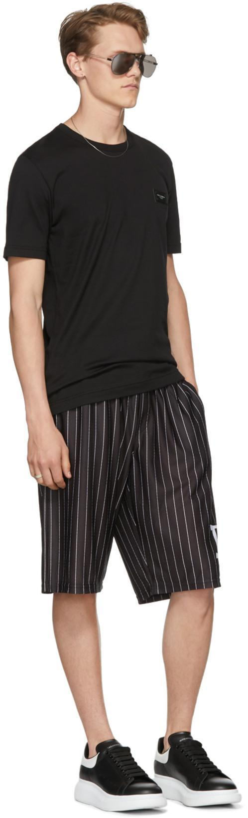 d92a87489f3c DOLCE   GABBANA Dolce And Gabbana Black And White Striped Dg Basketball  Shorts in Hnhbw Black