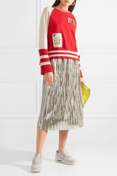 83a86b2cfd ALICE AND OLIVIA Alice + Olivia Mikaela Metallic Pleated Skirt in Silver