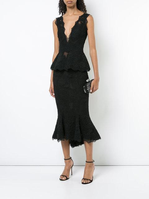 8592c5e6fc32d MARCHESA Couture Black 2-Piece Corded Lace Blouse And Flounce Tea Skirt