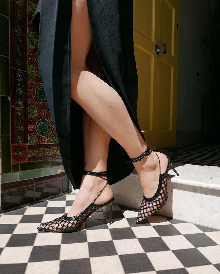 50f9d391349a CHRISTIAN LOUBOUTIN + Roland Mouret Cage And Curry 85 Mesh And Woven  Leather Pumps in Black