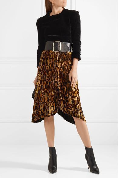 53e29bc44d73 ISABEL MARANT Tursanne Asymmetric Leopard-Print Velvet Skirt in Leopard  Print