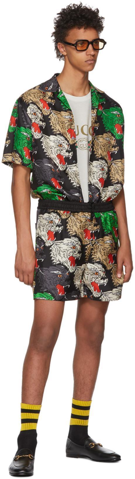 4c9a395d2f45 GUCCI Men's Multicolor Panther-Print Silk Shirt, Black in Multicolour