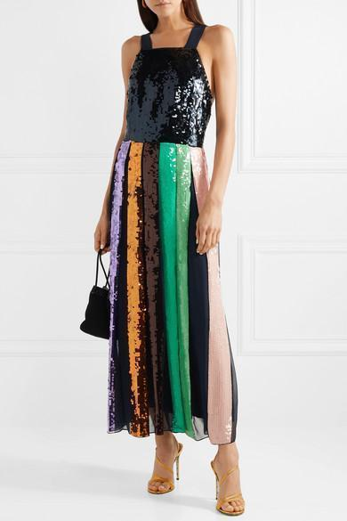 3a2382ca0b2 Tibi Multicolor Striped Sequined Overall Dress In Metallic
