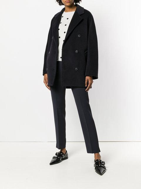 e3f703de37939 Max Mara Gastone Double-Breasted Camel Wool Short Pea Coat In Black ...