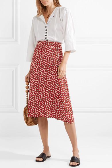 7f5551af77 Faithfull The Brand Joy Floral-Print Crepe Midi Skirt In Red | ModeSens