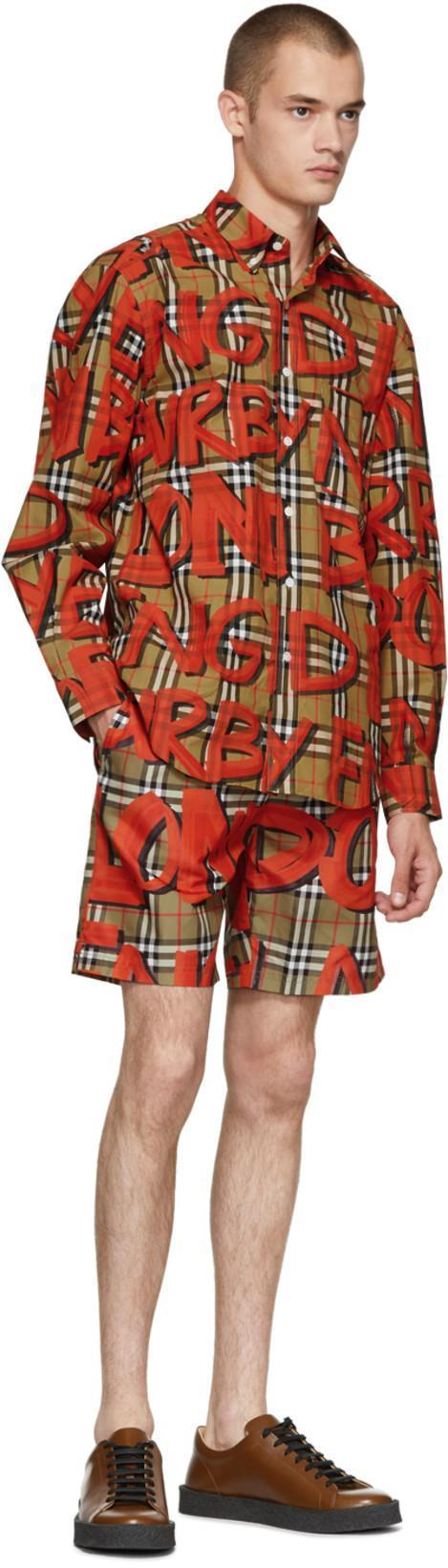 1b7cb3d48d Burberry Graffiti Print Vintage Check Drawcord Swim Shorts In Brown ...