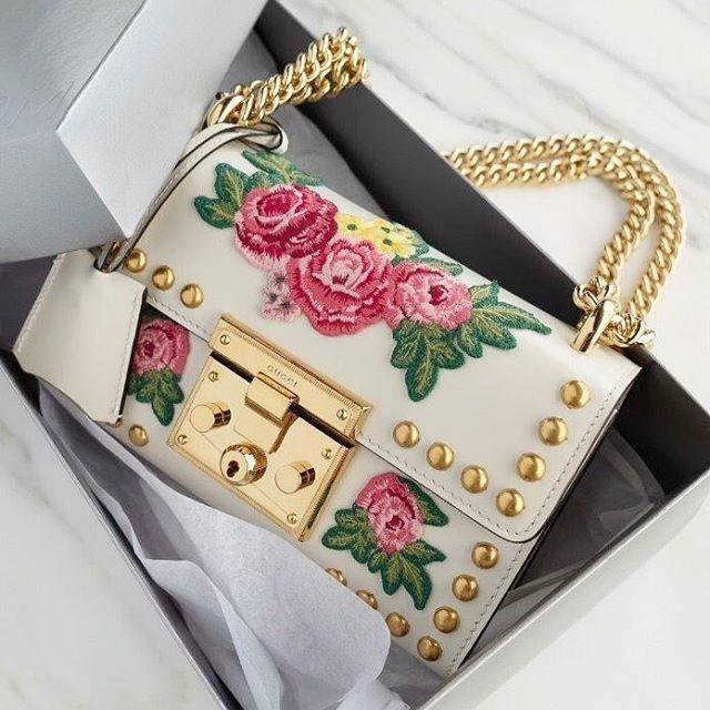 d4cc9f848a4e GUCCI Padlock Floral-Embroidered Studded Leather Chain Shoulder Bag in White