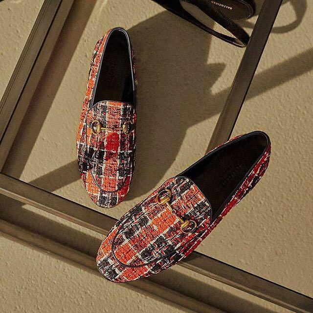57983d5217a Gucci Jordaan Check Tweed Loafers In Blue
