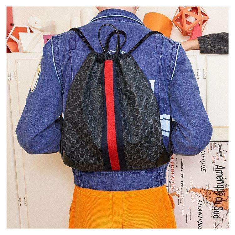 8fecdda953c4 Gucci Soft Gg Supreme Drawstring Backpack In 1071 Black | ModeSens