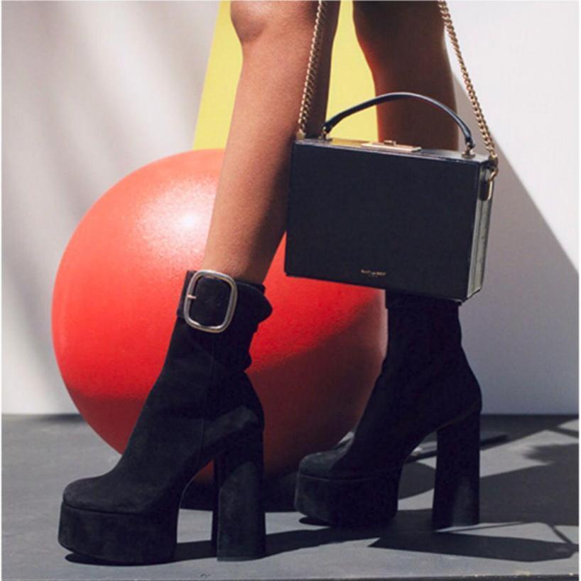 6041348854b3 Saint Laurent Black Suede Billy Platform Boots