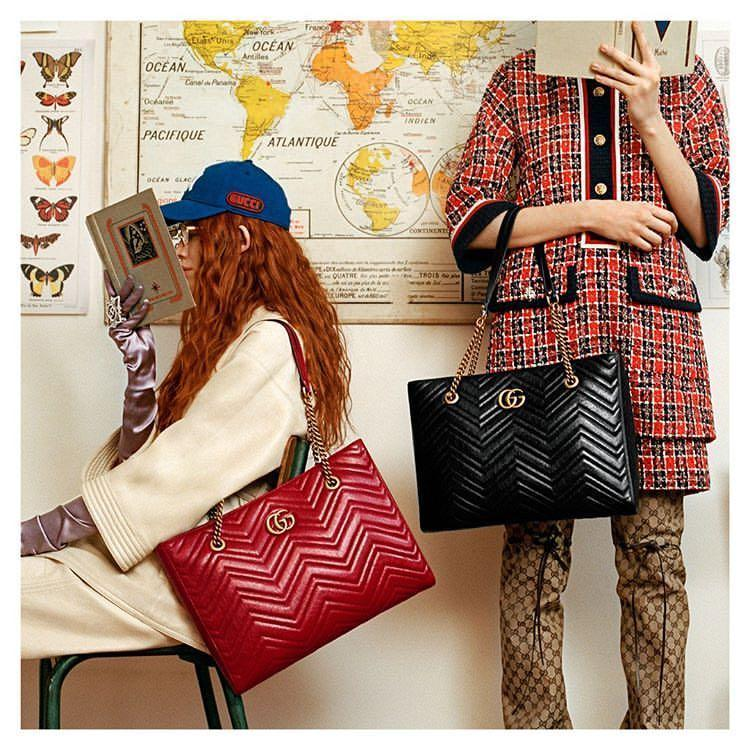 a2913f0e2978 GUCCI Gg Marmont 2.0 Matelasse Medium Leather East/West Tote Bag - Red