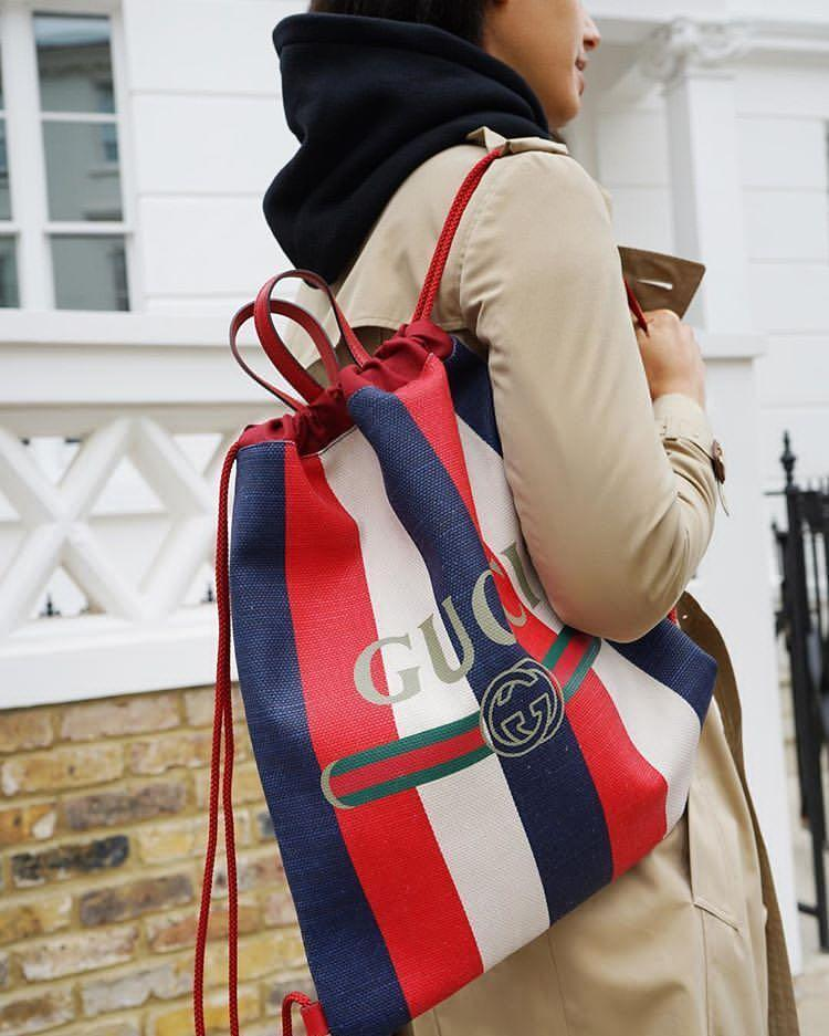 9bfd9bd7a6bc GUCCI Leather-Trimmed Logo-Print Striped Canvas Drawstring Backpack - Red -  One Siz