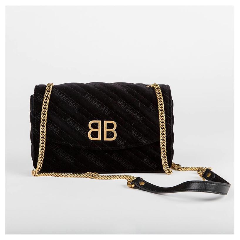 01a53fbec53 Balenciaga Bb Velvet Embossed Logo Shoulder Bag In Black | ModeSens
