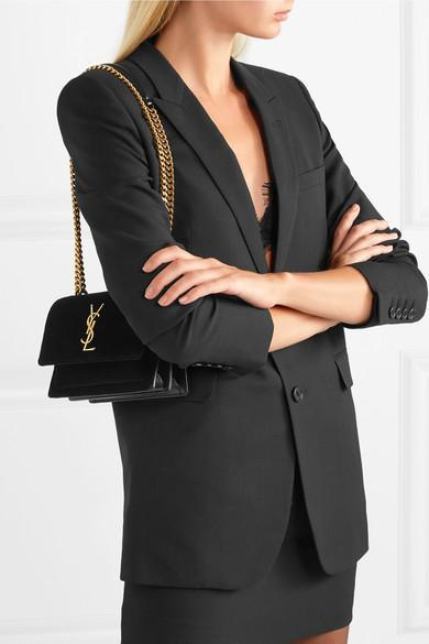 c584d28343ea SAINT LAURENT Sunset Monogram Ysl Small Velvet Chain Crossbody Bag in Black