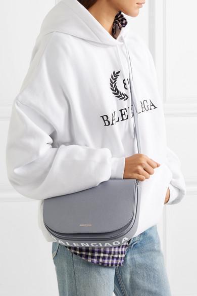 3de060a447 Balenciaga Ville S Aj Printed Textured-Leather Shoulder Bag In Grey ...
