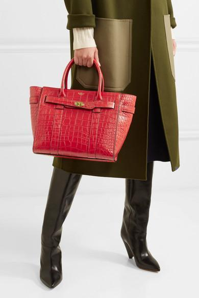 8f93ff72d98c Mulberry The Bayswater Zipped Small Croc-Effect Leather Tote
