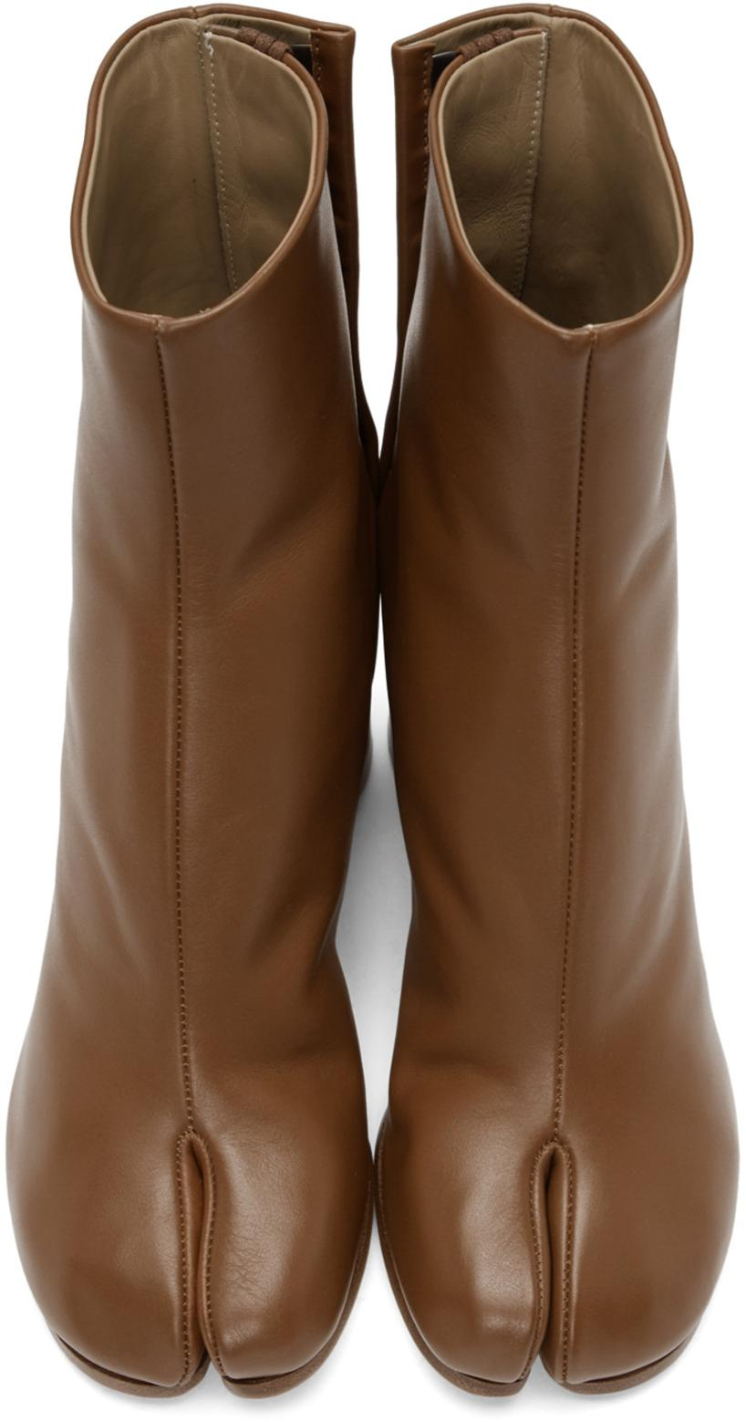 8326b7ed5721 Maison Margiela Tan Leather Tabi Boots