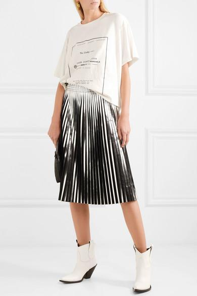 bc3f0164c5 MM6 MAISON MARGIELA Mm6 By Maison Margiela Black And Silver Pleated Faux  Leather Skirt