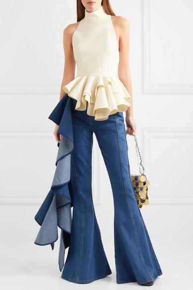 a5a9d8a88769bf Solace London Trumpet Ruffled High-Rise Wide-Leg Jeans In Mid Denim ...