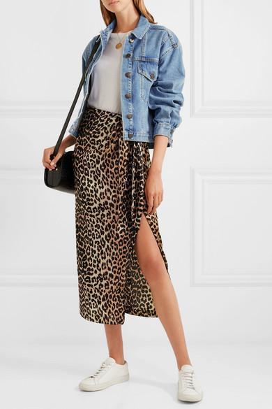 91db98ddfca2ec GANNI Black And Brown Calla Leopard-Print Stretch-Silk Midi Skirt in  Leopard Print