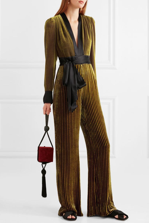 ad367f0e02c DIANE VON FURSTENBERG Satin-Trimmed Striped Devoré-Velvet Jumpsuit in Golden  Rod Cabernet
