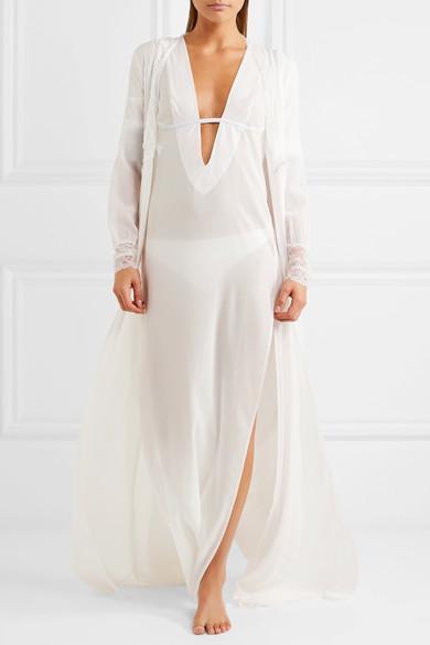 ba5fa872ccc LA PERLA Hampton Court Lace-Trimmed Stretch-Silk Georgette Robe in White